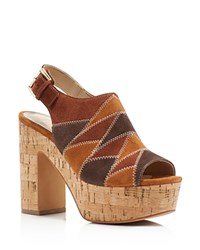 Marc Fisher Ltd. Queenie Patchwork Cork Platform High Heel Sandals Brown
