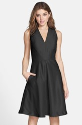 Women's Alfred Sung V Neck Dupioni Cocktail Dress Black