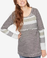 Wendy Bellissimo Maternity Patterned Sweater Green And Grey