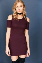 Silence And Noise Ribbed Cold Shoulder Bodycon Mini Dress Maroon