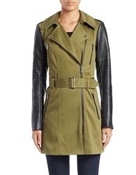 Guess Faux Leather Sleeve Trench Coat Green