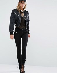 Versace Jeans Textured Super Skinny Trousers With Logo Buttons E899 Black