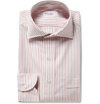 Drakes Striped Cotton And Cashmere Blend Twill Shirt Pink