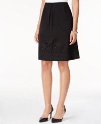Kasper Crepe A Line Embroidered Hem Skirt Black