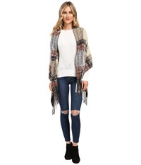 Echo Lofty Plaid Hooded Ruana Black Women's Clothing