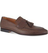 Stemar Woven Leather Penny Loafers Brown