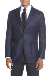 'The Napoli' Classic Fit Check Wool Sport Coat Royal Navy