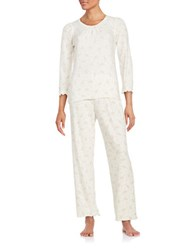 Miss Elaine Floral Print Quilted Fleece Pajama Set White