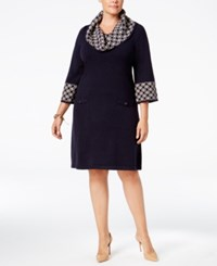 Jessica Howard Plus Size Geo Contrast Sweater Dress Navy Taupe