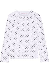 Comme Des Garcons Girl Polka Dot Cotton Jersey Top White