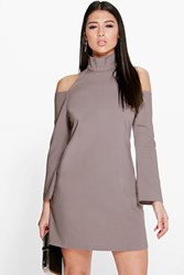 Ali High Neck Cold Shoulder A Line Shift Dress