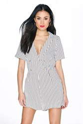 Boohoo Button Front Mono Stripe Playsuit Ivory