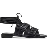 Senso Emilia Pleated Leather Sandals Black