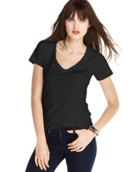 Maison Jules V Neck Pocket Tee Deep Black