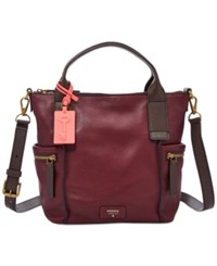 Fossil Emerson Medium Leather Satchel Wine