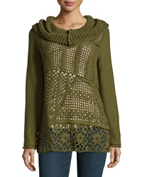 Pure Handknit Long Sleeve Sheer Front Knit Sweater Earthly Green