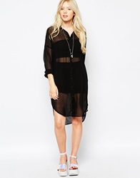 Motel Clarity Shirt Dress Black