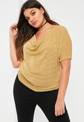 Missguided Plus Size Gold Cowl Front Slinky Top
