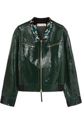 Marni Embellished Perforated Leather Jacket Green