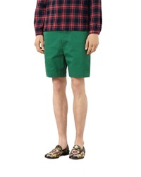 Gucci Cotton Shorts With Silk Detail Green