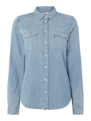 Levi's Long Sleeve Western Denim Shirt In Seascape Light Denim Light Wash