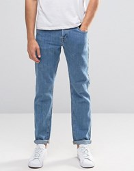 Asos Stretch Slim Jeans In Textured Fabric Mid Blue