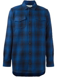 Off White Plaid Button Down Shirt Blue