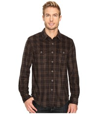 True Grit Sueded Checks Long Sleeve Two Pocket Shirt Brown Men's Clothing