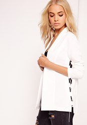 Missguided Crepe Lace Up Blazer White White