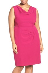 Adrianna Papell Plus Size Women's Drape Neck Sheath Dress Magenta