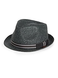 Ben Sherman Straw Fedora Black
