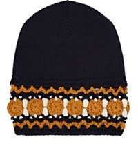 Gucci Men's Crocheted Cuff Wool Beanie Navy Cream Yellow Blue Navy Cream Yellow Blue
