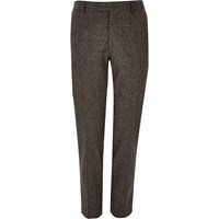 River Island Mens Brown Wool Skinny Suit Trousers