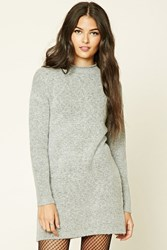 Forever 21 Longline Marled Knit Sweater Heather Grey