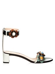 Fendi Flower Applique Leather Sandals Black Multi
