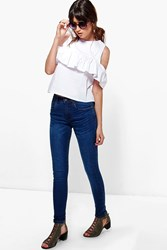 Boohoo 5 Pocket High Rise Skinny Jeans Dark Blue