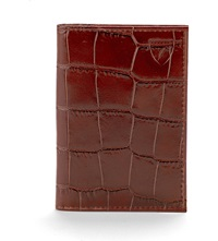 Aspinal Of London Croc Embossed Double Fold Leather Card Holder Amazon Brown