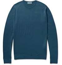 John Smedley Cleves Merino Wool Sweater Blue