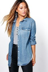 Boohoo Oversized Denim Shirt Mid Blue