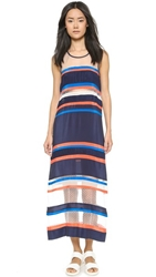 Emma Cook Ribbon Stripe Maxi Dress White Navy