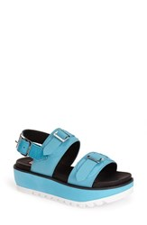 Women's Hunter Double Buckle Mid Flatform Sandal Sky Blue