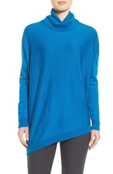 Eileen Fisher Women's Asymmetrical Merino Jersey Turtleneck Crystal Blue