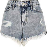 River Island Womens Light Acid Wash Frayed Denim Shorts