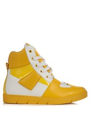 Loewe High Top Panelled Leather Trainers Yellow Multi