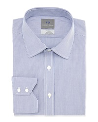 Thomas Dean Non Iron Striped Dress Shirt Blue