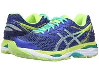 Asics Gel Cumulus 18 Blue Silver Safety Yellow Women's Running Shoes