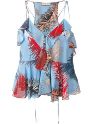 Emilio Pucci Feather Print Top Blue