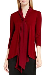 Vince Camuto Women's Woven Scarf Neck High Low Hem Jersey Top Malbec Red