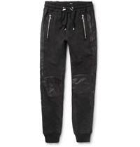Balmain Leather Trimmed Cotton Jersey Sweatpants Black