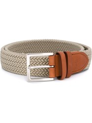 Canali Braided Elastic Belt Nude And Neutrals